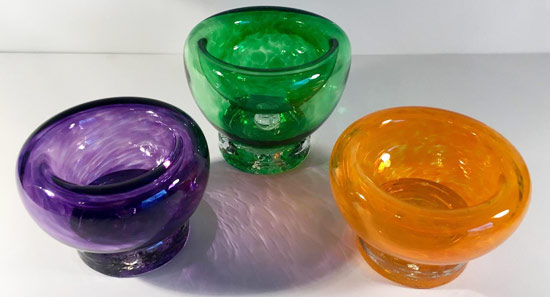 Double Walled Footed Blown Glass Bowl