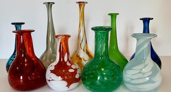 Blown Glass Roman Bottles in rows