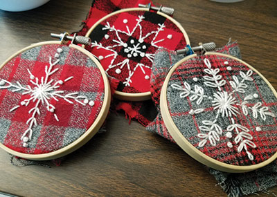 Snowflake Embroidery Ornaments