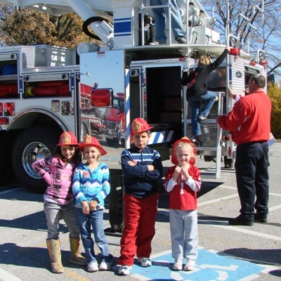 fire trucks at community health day