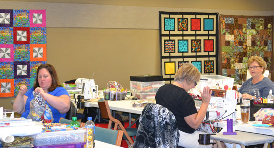 Quilts in process at Quilters Retreat
