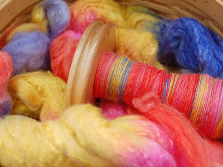 Hand spun yarn and dyed wool