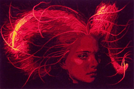 Red-mythical-woman-hooked-rug-Mariah-Krauss