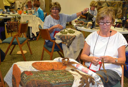 Creating at Rug Hooking Week retreat