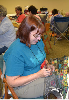 Retreat student at Rug Hooking Week