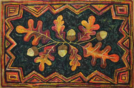 Acorn-leaves-zig-zag-border-hooked-rug