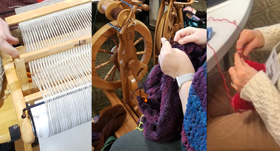 Weaving, spinning and knitting examples