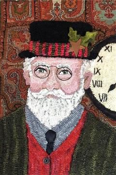 Santa-in-casual-hat-hooked-rug-DonnaHrkman