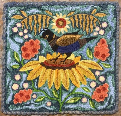 bird-on-sunflower-hooked-rug