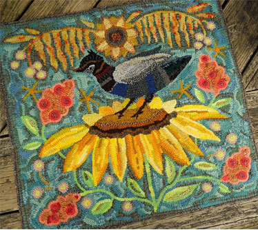 bird-on-sunflower-on-teal-hooked-rug