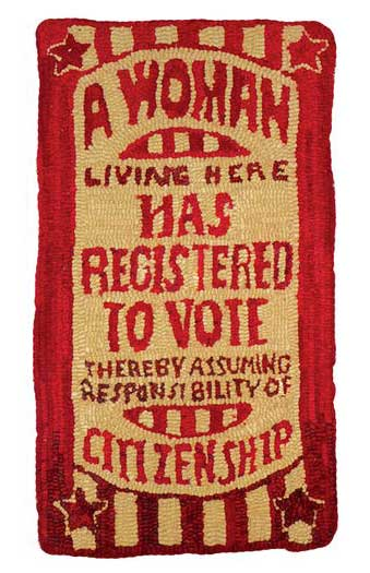 woman-registered-to-vote-hooked-rug