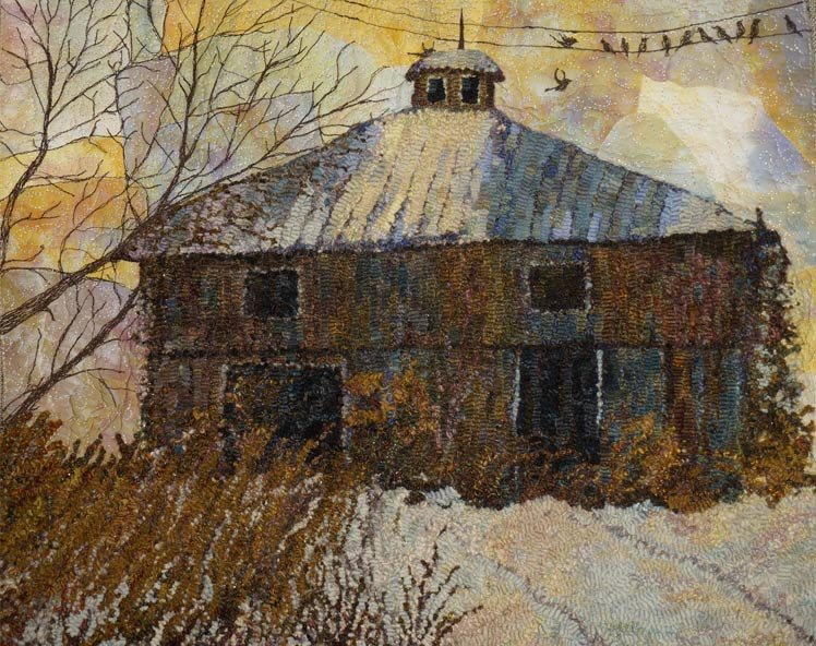 Molly-Colegrove-hooked-rug-Barn-in-Winter