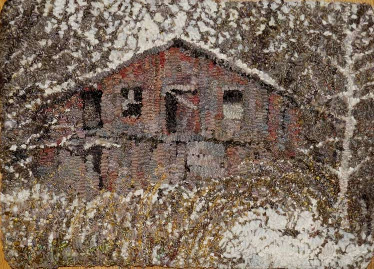 Molly-Colegrove-hooked-rug-Red-Barn-in-Winter