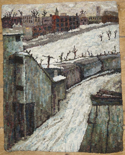 Molly-Colegrove-hooked-rug-Winter-city-scenic