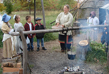 Students Native American Village