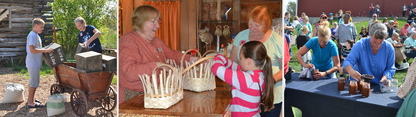 Home Schooler activity at Lauber, Celebrate our Artisans in Basket Shop, Apple Week's apple butter making