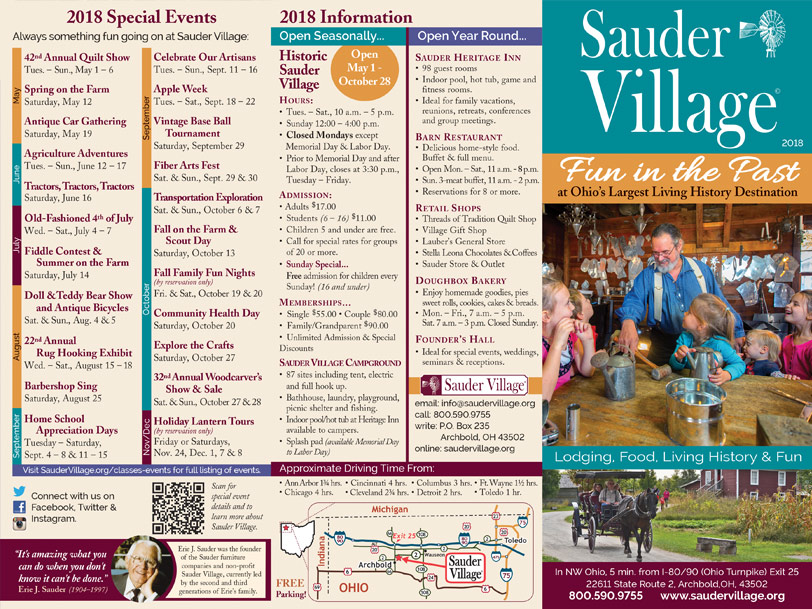 Sauder-Village-2018-brochure-outside