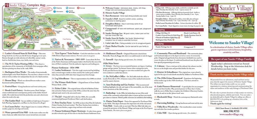Sauder Village Brochures & Maps on